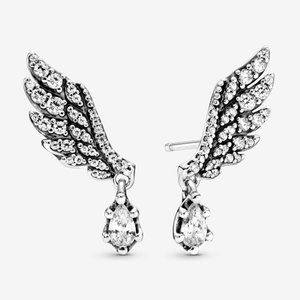 Pandora Dangling Angel Wing Stud Earrings